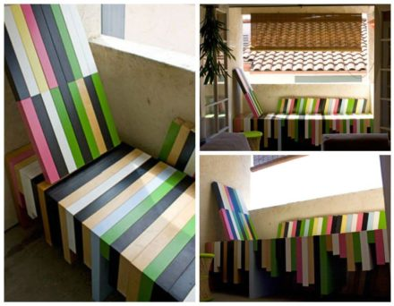 Colorful Bench Made From Upycled Ikea Lack Coffee Tables