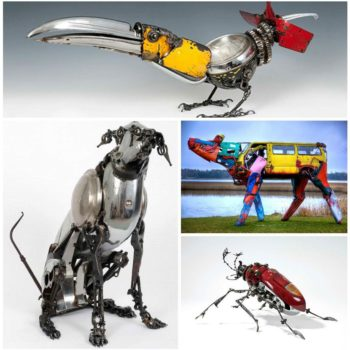 Recycled Car Part Art