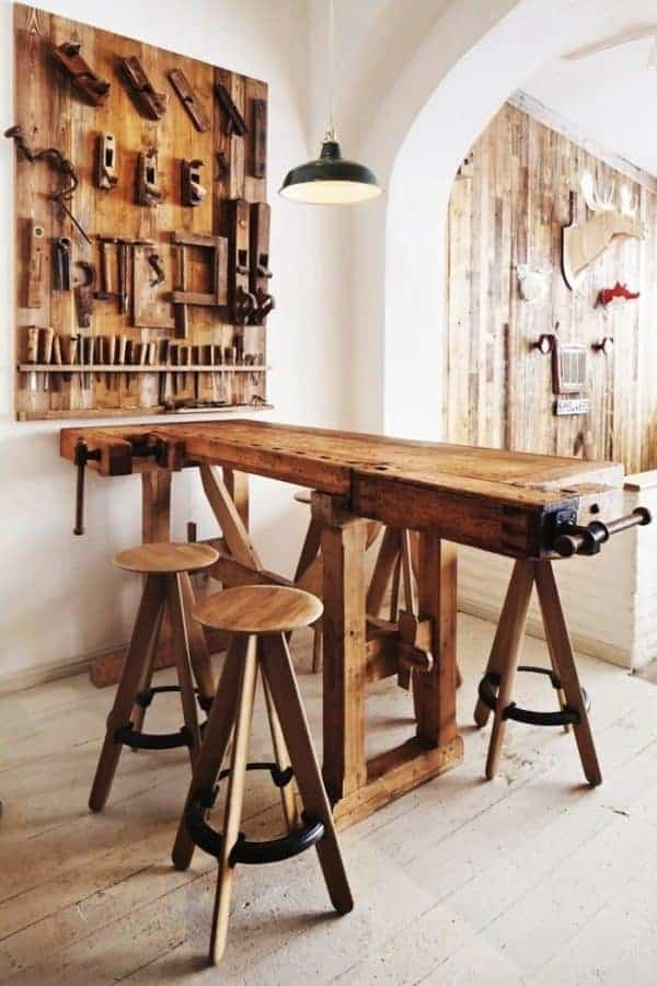 Top 11 Carpenter's Workbenches Repurposed as Contemporary Pieces of Decoration Recycled Furniture