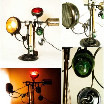 Industrial Metal Lamp Upcycled From Salvaged Moto