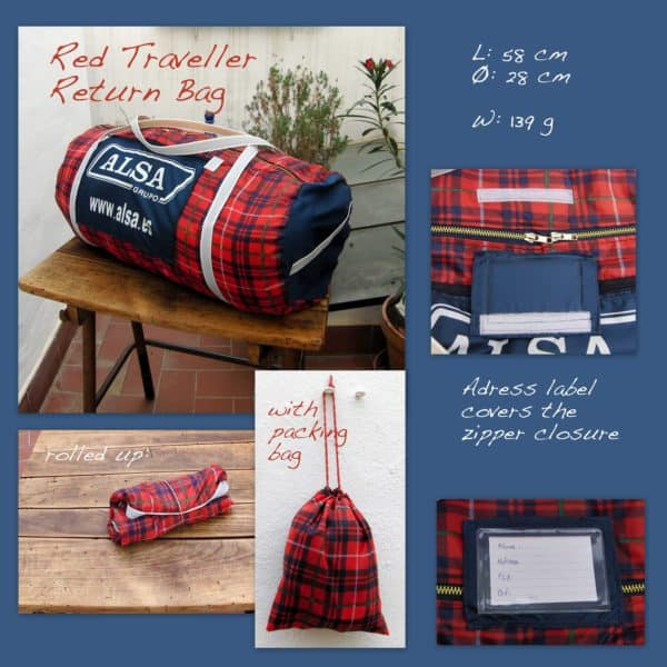 Red Traveller Return Bag: Umbrellas Recycled Into Bags Accessories