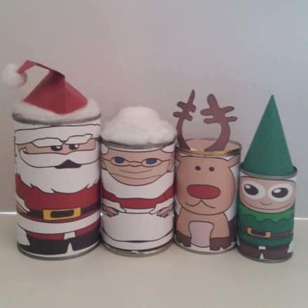 Upcycled Tin Can Into Christmas Nesting Dolls