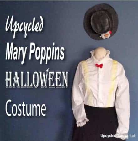 Upcycled Mary Poppins Costume - Blouse & Hat
