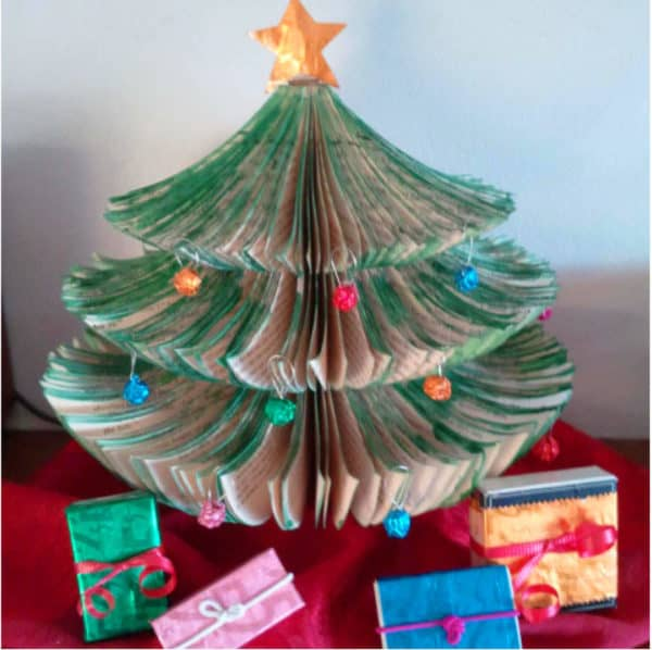 Tiny Space Upcycled Book Christmas Tree Do-It-Yourself Ideas Recycling Paper & Books