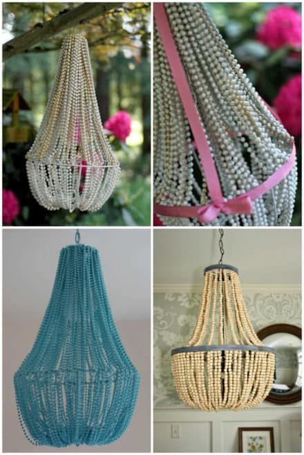 Chandelier Made Out Of Christmas Garlands Or Beads
