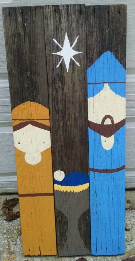 Nativity From Recycled Stair Treads