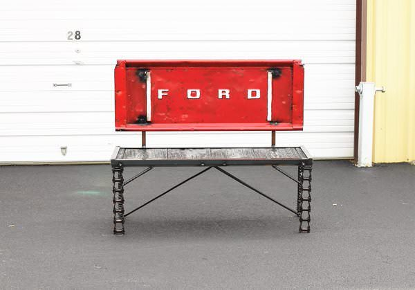 Upcycled Auto & Truck Parts Into Tailgate Benches Mechanic & Friends Recycled Furniture