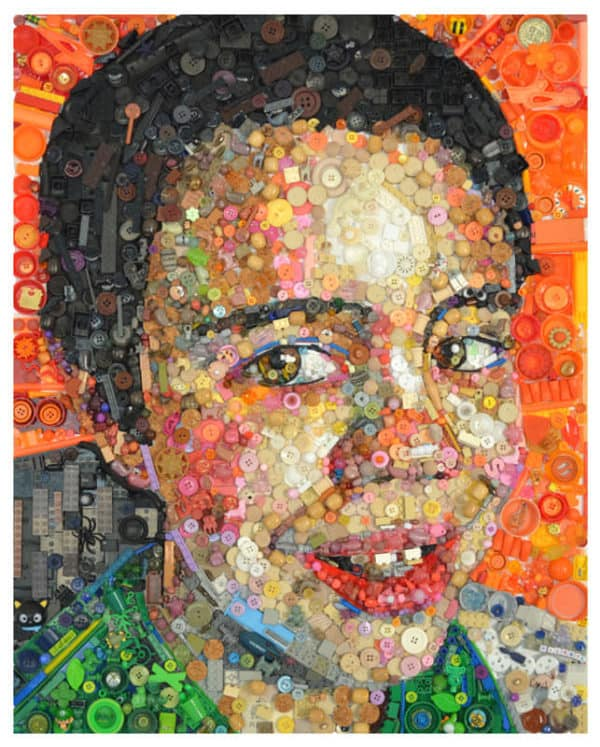 Paintings Made From Old Toys & Buttons Recycled Art