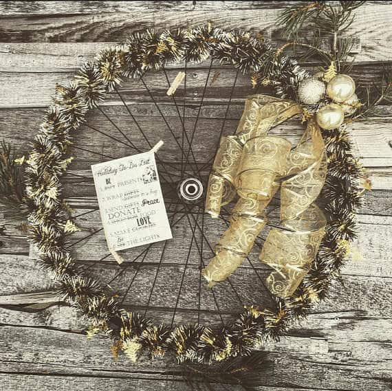 Bicycle Wheel Into Holiday Wreath Bike & Friends
