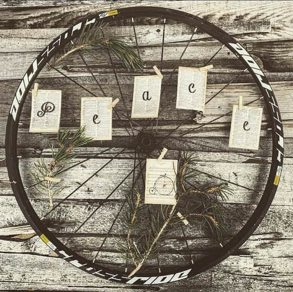 Bicycle Wheel Upcycled Into Holiday Wreath Bike & Friends