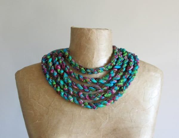 Scraps Of Fabric Into Tribal Necklaces Clothing Upcycled Jewelry Ideas