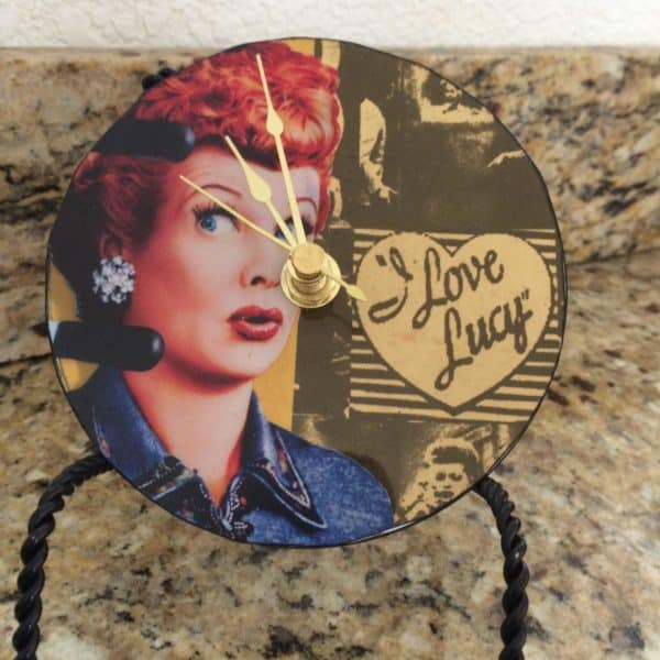 Upcycled Cd I Love Lucy Clock Accessories Recycled Electronic Waste