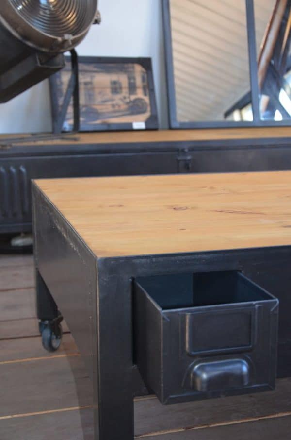 Industrial coffee table with drawers table basse - Tables basses industrielles ...