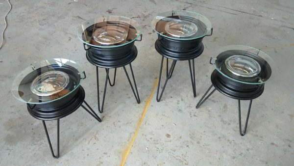 Repurposed Bmx Rims Into Coffee Tables Recycled Furniture
