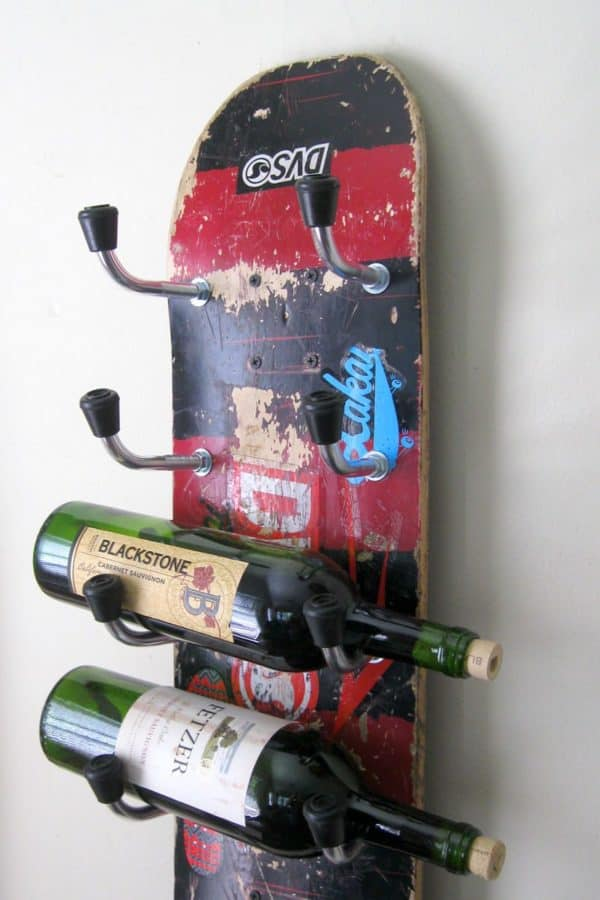 Skateboard Wine Rack Accessories Recycled Sports Equipment