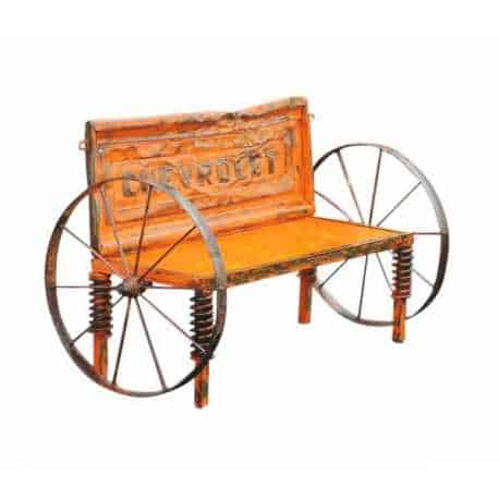 Upcycled Chevy Tailgate Outdoor Garden Bench Mechanic & Friends Recycled Furniture
