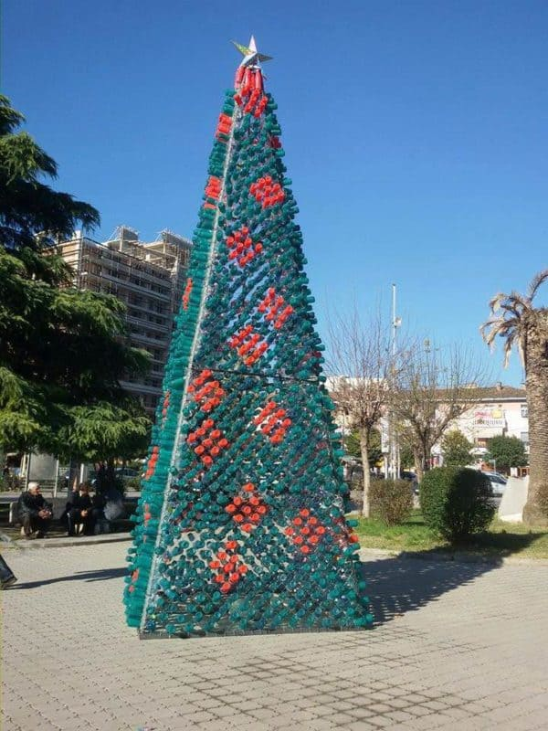 Christmas Tree Made by Citizens from 2200 Recycled Plastic Bottles in Elbasan, Albania Interactive, Happening & Street Art