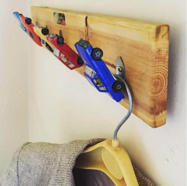 Coat Hook Made out of Upcycled Hotwheels Toy Cars Recycled Furniture