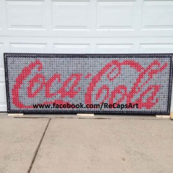 Coca-Cola Sign Made Out Of 2,000 Bottle Caps
