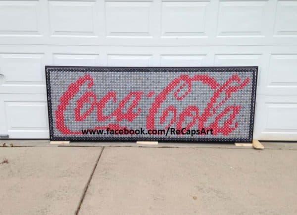 Coca-Cola Sign Made Out Of 2,000 Bottle Caps Recycled Art