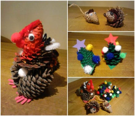 Fun Christmas Crafts with Kids Made from Pinecones