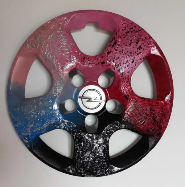 Recycled Hubcaps into Original Abstract Painting Recycled Art