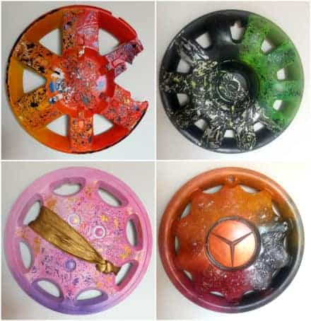 Recycled Hubcaps into Original Abstract Painting