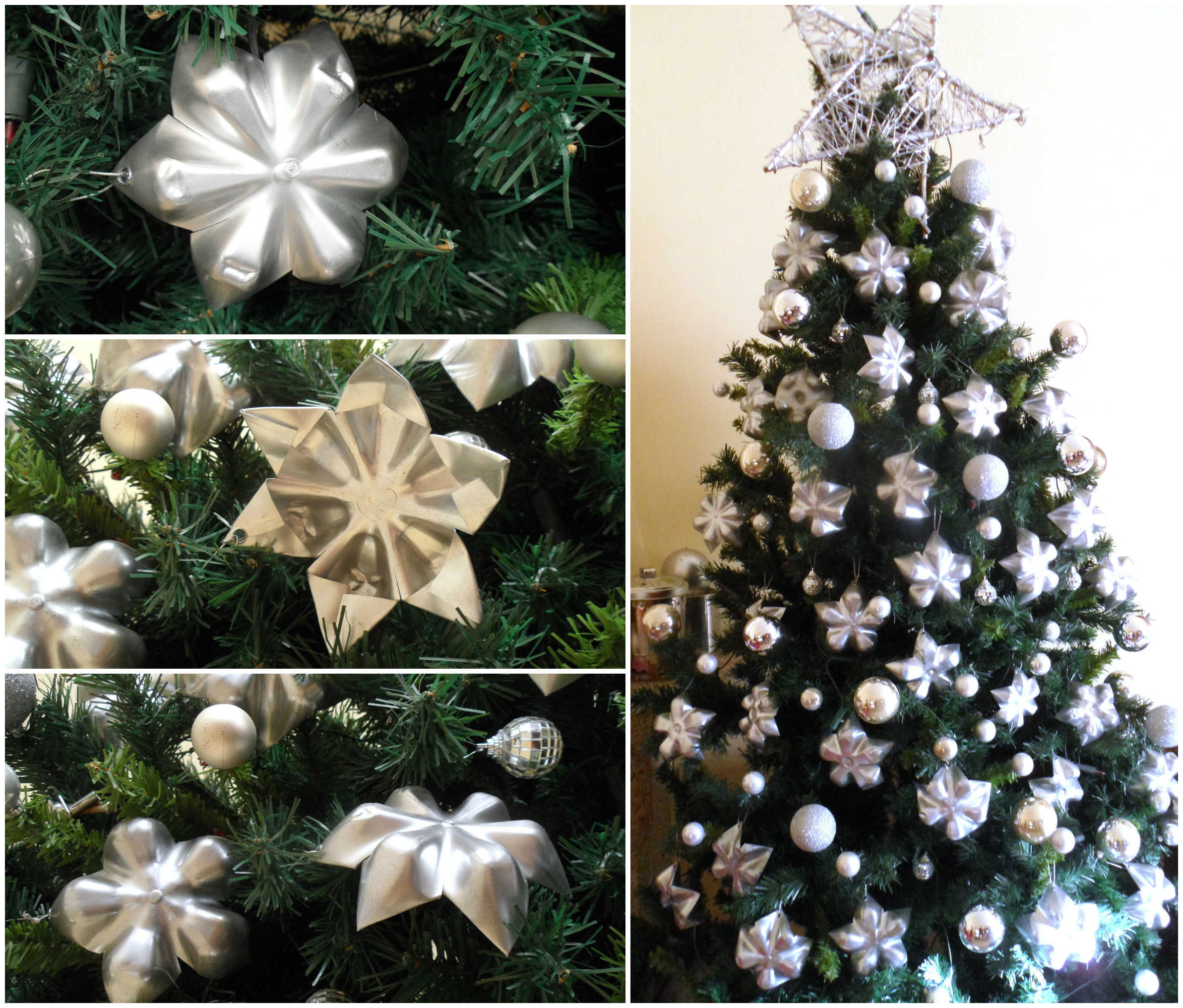 Christmas Wall Decor Recycled : Upcycled plastic bottle bottoms into stars for christmas