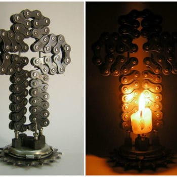 Bike Chain Cross Sconce