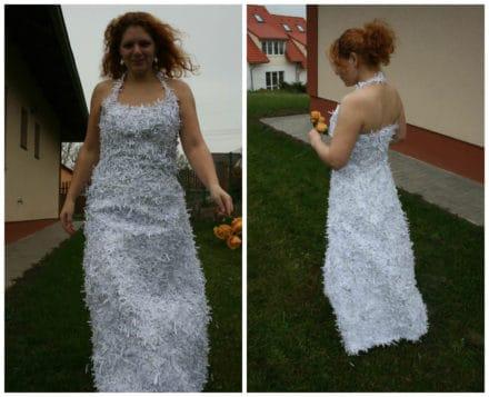Dress From Shredded Paper Trash