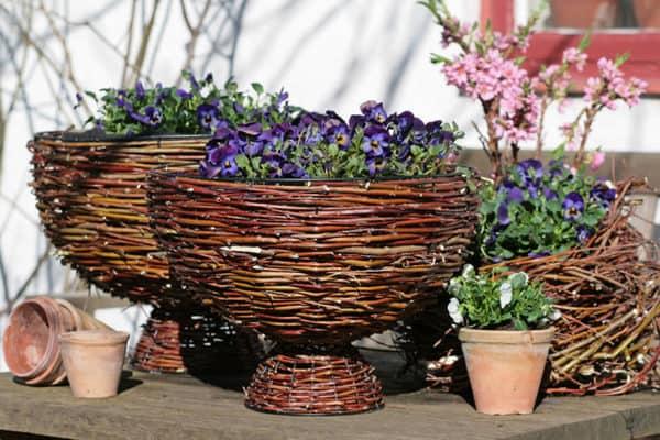 Flower Baskets From Willow Branches Garden Ideas