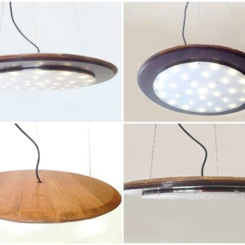 Halo Pendant Led Light from Recycled Wine Barrel Top