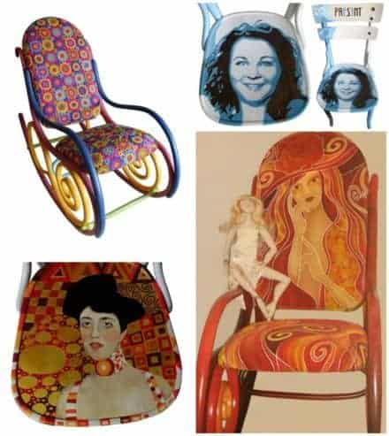 Painting On Old Thonet Chairs & Armchairs