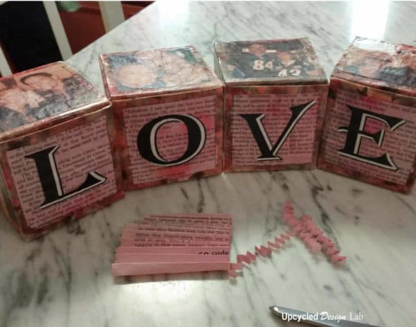 Upcycled Valentine Love Blocks Gift Boxes Do-It-Yourself Ideas