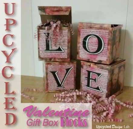 Upcycled Valentine Love Blocks Gift Boxes