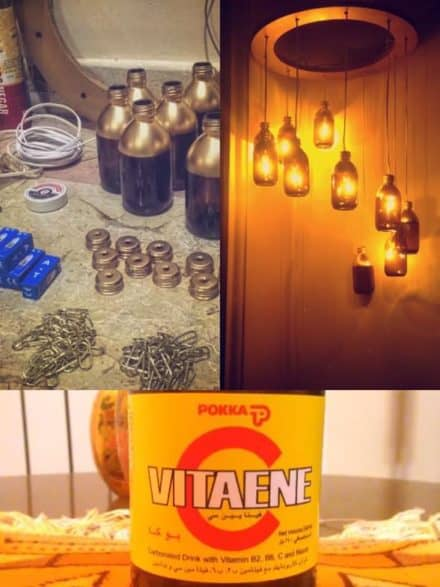 Vitaene C Bottles Upcycled into Chandelier