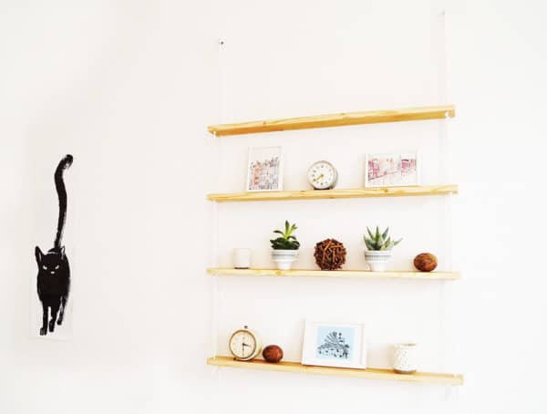 A Hanging Rope Shelf Wood & Organic