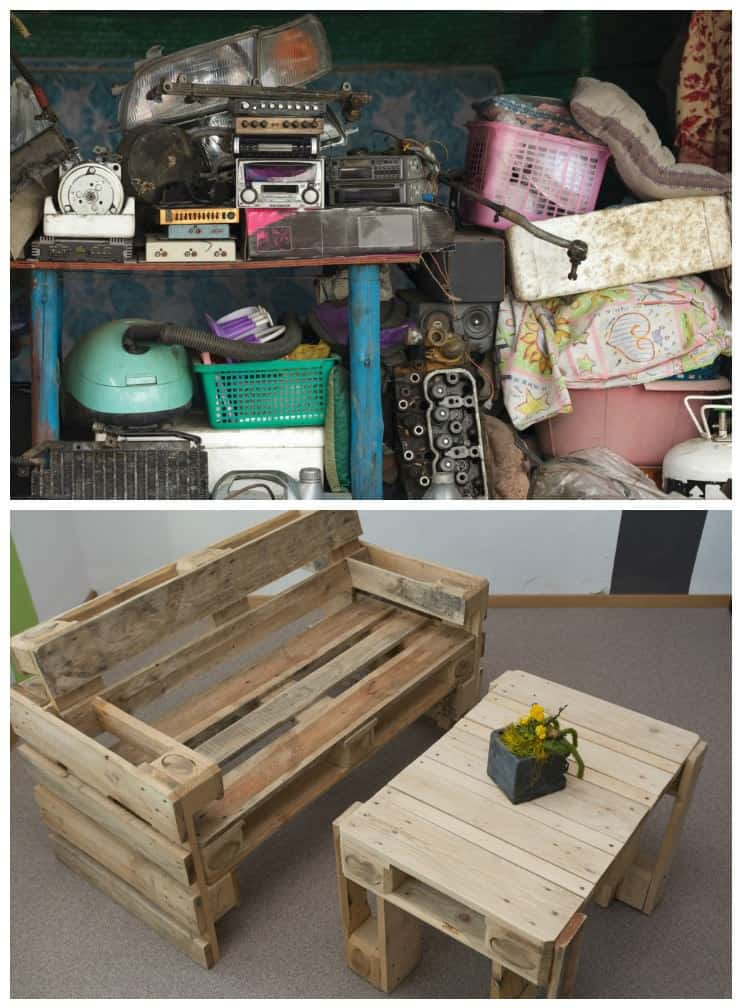 Recycling unused garage items into home decor treasure for Recycled home decorations