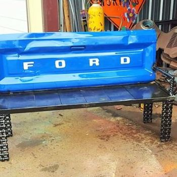 Upcycled Garden Ideas: Scrap Metal Truck Tailgate Into Bench