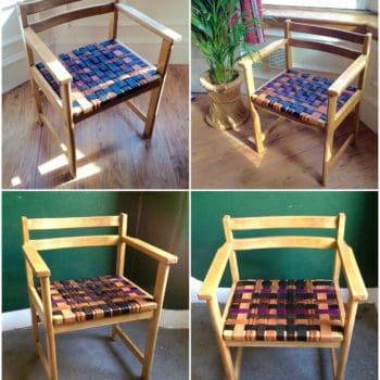 1950s Circa Chair Makeover with 12 Upcycled Leather Belts