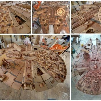 Amazing Millenium Falcon Made From 3,000 Pieces of Wood by Martin Creaney