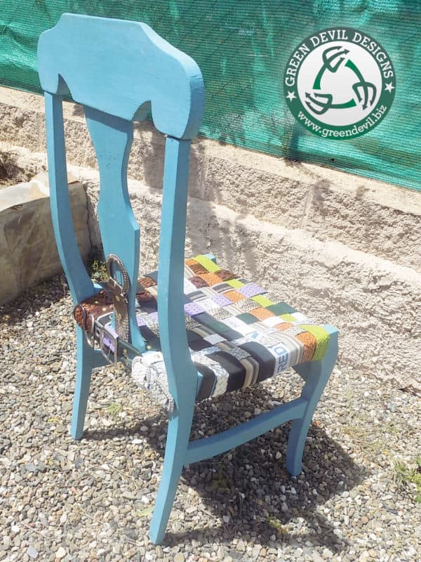 Green Devil - Chair Woven With Upcycled Belts Recycled Furniture