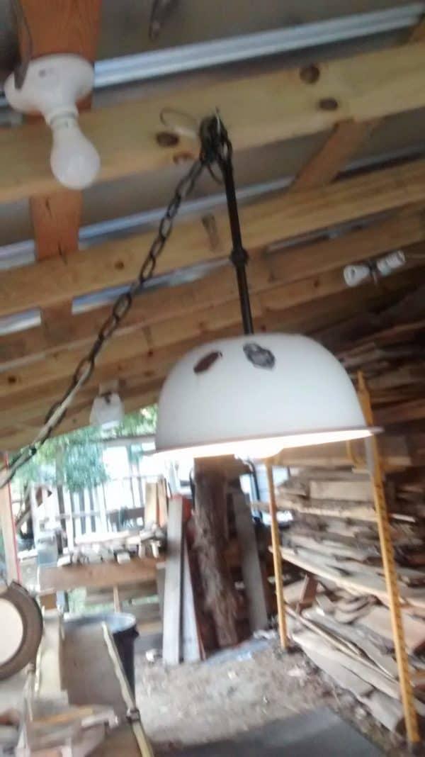 Old Vintage Enamel Bowl into Hanging Light Lamps & Lights