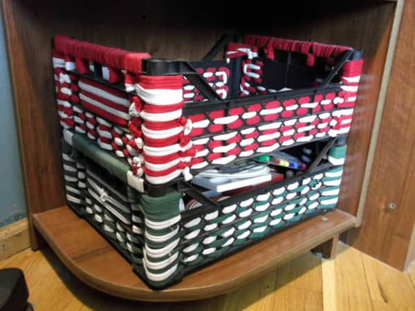 Plastic Crates And Old T-shirts Into  Better Plastic Crates Do-It-Yourself Ideas