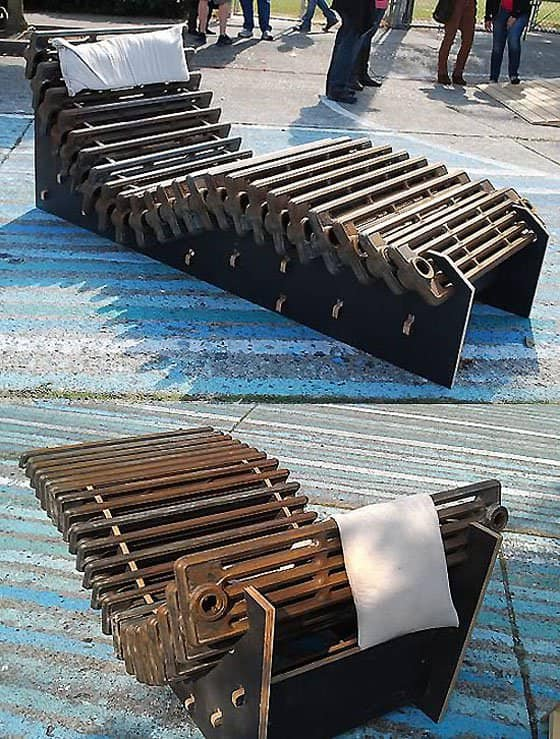 Radiator into Lounge Seat by Cnc Music Factory Recycled Furniture Recycling Metal