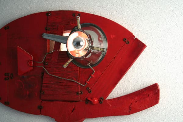 Red Grouper: Wall Sculpture & Lamp Recycled Art