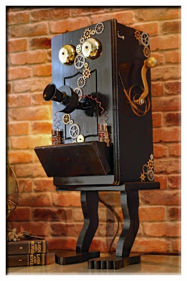 Steampunk Gears Whimsical Wood Black Telephone Upcycled 2-port Usb Charger Lamp Lamps & Lights