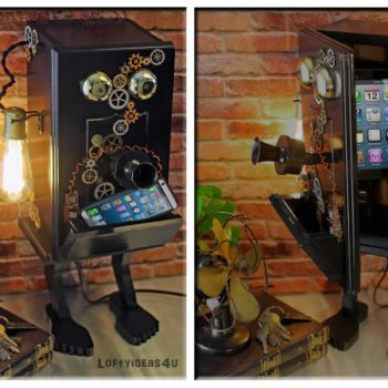 Steampunk Gears Whimsical Wood Black Telephone Upcycled 2-port Usb Charger Lamp