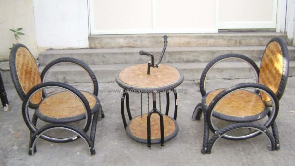Upcycled Furniture From Old Tires, Oil Drums & Bike Parts Mechanic & Friends Recycled Furniture Recycled Rubber