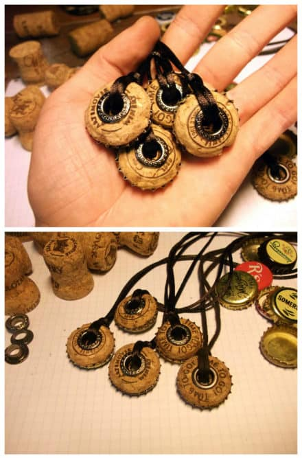 Bottle Caps & Champagne Corks Into Necklace
